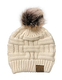 Fashion Beige Knitted Hat With Bamboo Woven Letter Mark Cross With Back Opening