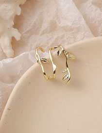 Fashion Golden Curved Branches And Leaves Geometric Alloy Earrings