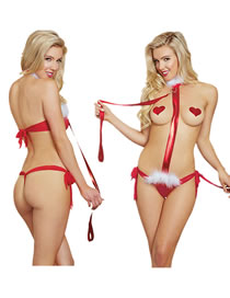 Fashion Red One-piece Three-point Bundled See-through Christmas Suit Sexy Underwear