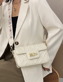 Fashion Creamy-white One-shoulder Crossbody Bag With Wide Buckle Strap