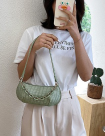 Fashion Light Green Stone Pattern Pleated Chain Shoulder Bag