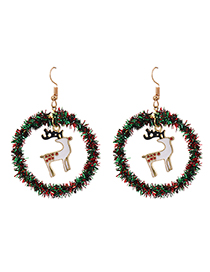 Fashion Elk Hollow Round Christmas Earrings With Alloy Ribbon