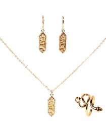 Fashion Suit Copper Micro Inlaid Zircon Square Snake Pendant Earrings Necklace Ring Set