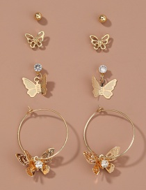 Fashion Gold Color Butterfly Diamond Round Alloy Earring Set
