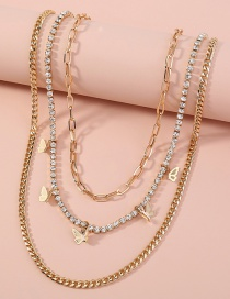 Fashion Gold Color Butterfly Diamond Alloy Multilayer Necklace