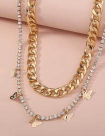 Fashion Gold Color Thick Chain Rhinestone Claw Chain Butterfly Tassel Double Necklace