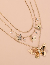 Fashion Gold Color Hollow Butterfly Pendant Multilayer Necklace