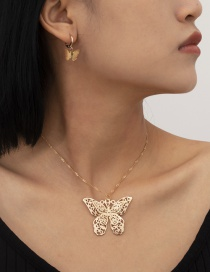 Fashion Gold Color Big Butterfly Hollow Alloy Necklace And Earring Set