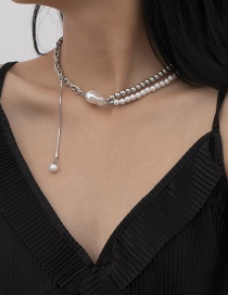 Fashion White K Pearl Beaded Pendant Alloy Necklace