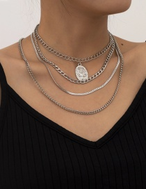 Fashion White K Alloy Rose Geometric Multi-layer Necklace