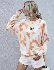 Fashion Orange Printed Pullover Long-sleeved Tie-dye Sweatshirt