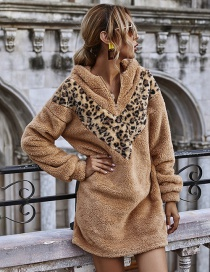 Fashion Khaki Plush Hooded Leopard Print Dress