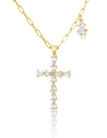 Fashion Gilded Portrait Gold-plated Necklace With Diamond Cross