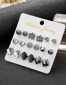 Fashion Silver Color Square Diamond Crown Love Earring Set