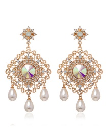 Fashion Yellow Alloy Diamond Pearl Geometric Earrings