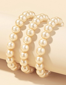 Fashion Gold Color Elastic Cord Pearl Multilayer Bracelet