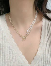 Fashion White Rice Shaped Freshwater Pearl Stitching Ot Buckle Necklace