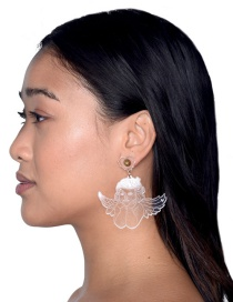Fashion Transparent Cupid Transparent Acrylic Engraved Cupid Earrings