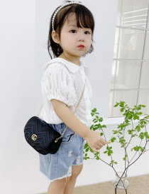 Fashion Black Childrens One-shoulder Messenger Bag With Embroidery Thread Letters