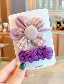 Fashion Purple Flower Hair Rope + Wool Hairpin Yarn Bowknot Small Flowers Children Hairpin Hair Rope