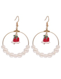 Fashion Bells Christmas Series Alloy Round Oil Drop Pearl Earrings