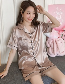 Fashion Apricot Faux Silk Printed Cardigan Short-sleeved Thin Homewear Pajamas Set