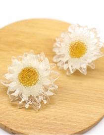 Fashion White Dried Flower Resin Epoxy Earrings