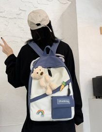 Fashion Blue Bear Doll Stitching Contrast Color Backpack