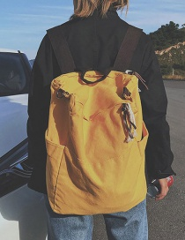 Fashion Yellow Solid Color Large Capacity Canvas Backpack