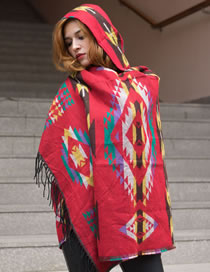 Fashion Big Red Hooded Cape With Jacquard Horn Buckle Imitation Cashmere Fringed Shawl