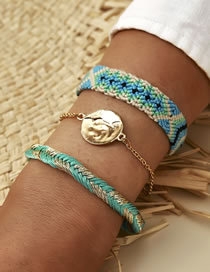 Fashion Blue Wire Rope Woven Disc Multilayer Bracelet