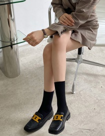 Fashion Black Flat Shoes With Square Toe Metal Buckle