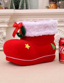 Fashion Red Christmas Flocking Christmas Candy Boot Jar
