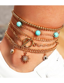 Fashion Gold Color Round Bead Chain Turquoise Star Bracelet Set