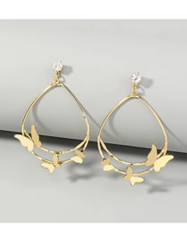 Fashion Gold Color Double Drop-shaped Butterfly Diamond Alloy Earrings