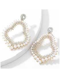 Fashion Gold Color Alloy Diamond Pearl Gourd Earrings