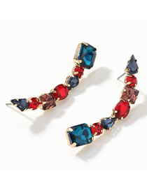 Fashion Color Curved Alloy Diamond Earrings