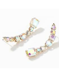 Fashion Ab Color Curved Alloy Diamond Earrings