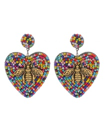 Fashion Color Alloy Rice Beads Love Bee Stud Earrings