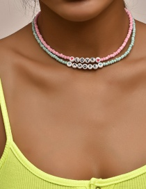 Fashion Color Mixing Letter Love Beaded Alloy Multilayer Necklace