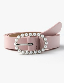 Fashion Pink Pearl Geometric Oval Alloy Belt