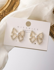 Fashion Gold Color Pearl Rhinestone Butterfly Combined With Gold Earrings