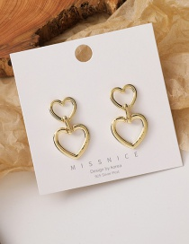 Fashion Gold Color Large And Small Heart Alloy Hollow Earrings