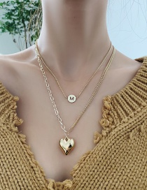 Fashion Gold Color Chain Love Heart Alloy Multilayer Necklace