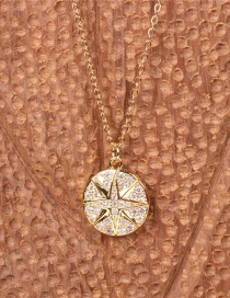 Fashion Gold Color Round Coin Diamond Pendant Compass Necklace