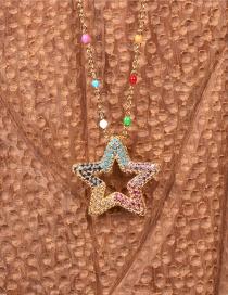 Collar Hueco De Diamantes Con Incrustaciones De Estrellas De Cinco Puntas