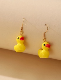 Fashion Yellow Little Yellow Duck Alloy Silicone Earrings
