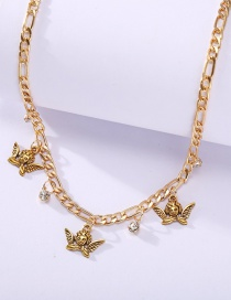 Fashion Gold Color Angel Diamond Alloy Necklace