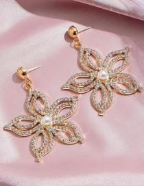 Fashion Gold Color Hollow Flower Geometric Diamond Alloy Earrings