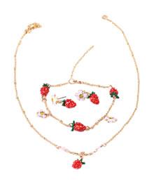 Fashion Strawberry Fruit Dripping Strawberry Necklace Bracelet Earrings Set